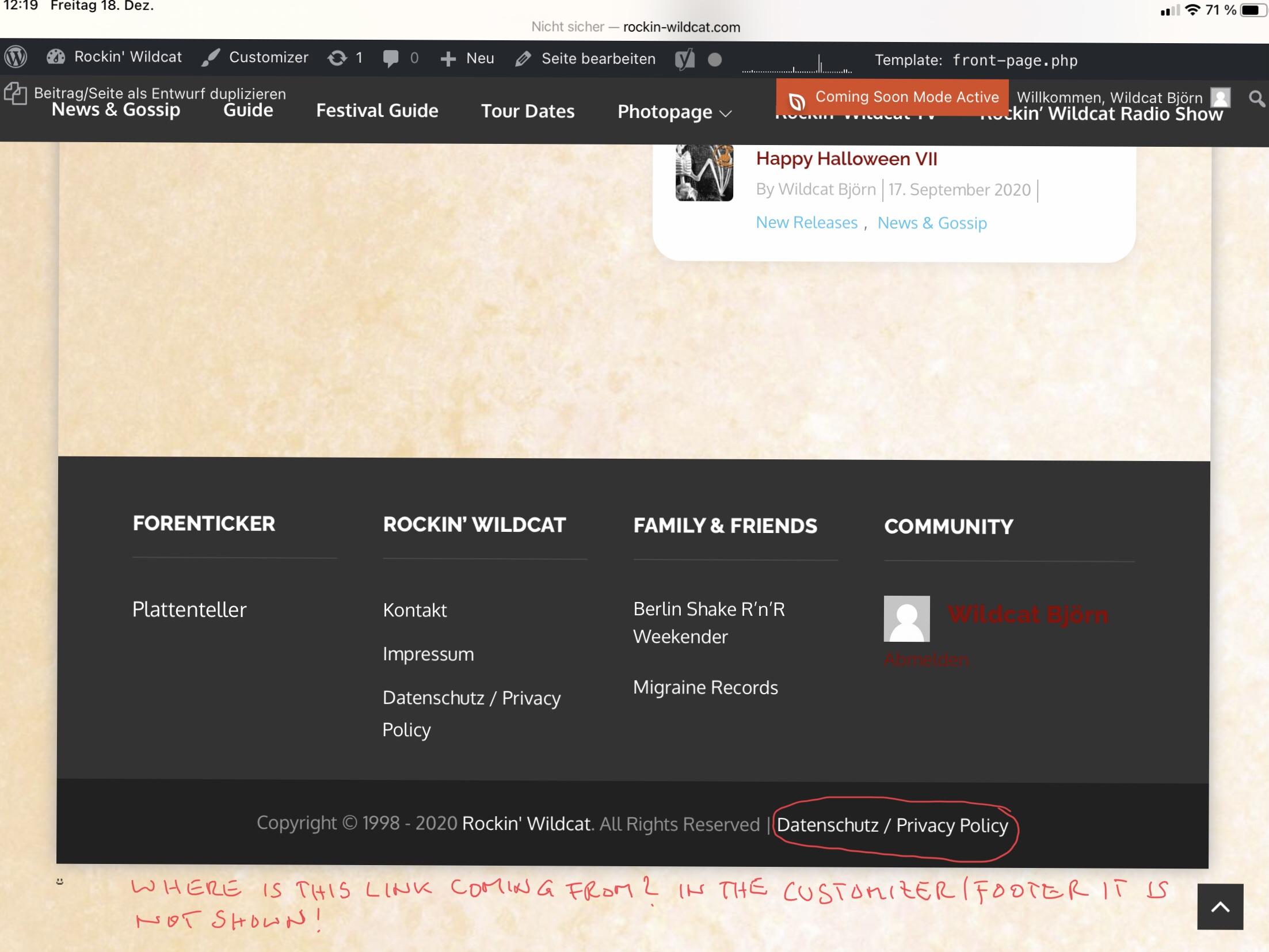 Footer, Screenshot
